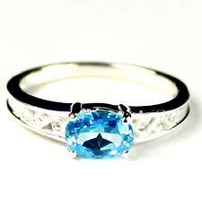• R362-WG, 1 carat Swiss Blue Topaz, 10k White Gold Ladies Ring -Handmade