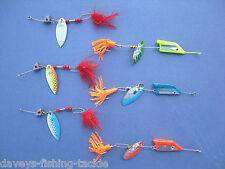 6 SPINNER BLADE LURES BUCKTAIL & MUPPET GAME SEA COARSE PIKE BAIT FISHING KIT