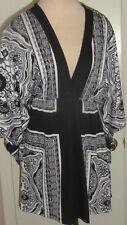 Ladies Portocruz Black & White Geo Print Slip On Swim Suit Cover Up Medium