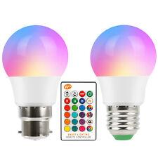 B22 5W Multi Colour Changing RGB LED Light Bulbs IR Remote Controlled Magic Lamp