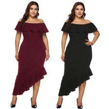Women Fashion Plus Size Solid Off Shoulder Mid Dress Loose Party Cocktail Dress