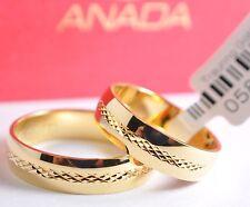 1 Paar Gold 585 Trauringe Eheringe Hochzeitsringe mit blitzendem Muster - B: 5mm