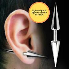 Men Women's Surgical Steel Spike Plugs Double Cone Rivet Barbell Studs Earrings