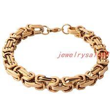 "Gold Plated Stainless Steel Biker Men's 7-11"" Byzantine Box Chain Bracelet Gift"