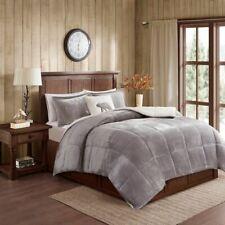 Luxury Grey & Ivory Plush Reversible Berber Comforter Set AND Decorative Pillow