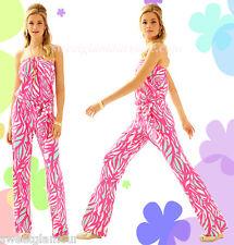 $178 Lilly Pulitzer Tia Capri Pink Papaya Playa Jersey Strapless Belted Jumpsuit