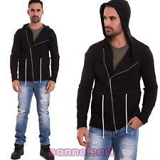 Felpa uomo giacca maglia lacci casual cappuccio zip sbieco slim nuova 1712-MOD