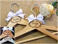 Personalised Engraved White Wooden Wedding Dress Gift Hangers Bridal Bridesmaid
