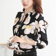 Spring/Summer Women V-Neck Chiffon Blouse Slim T shirt Office Work Floral Tops