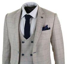 Costume homme 3pièces Marc Darcy crème beige carreaux bleus gilet veston croisé