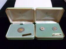 ANSON STERLING SILVER & 22K GOLD NUGGET SET PAIR SCREWBACK EARRINGS & BROOCH PIN