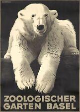 Vintage Basel Zoo Polar Bear Poster  A3 Print
