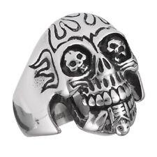 Fire Flaming Skull Biker Ring Halloween Men's Large New Stainless Steel