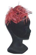 CHAPEAU de cérémonie TAILLE UNIQUE peigne femme mariage rouge uni & plumes hat
