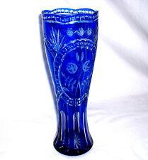 blaue Überfangvase 31 cm - Haida Böhmen Kulka, Wenzel  um 1930
