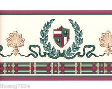 French Fleur De Lis Ribbon Crest Leaf Burgundy Green Plaid Wall paper Border