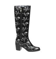 """Women's Mid Knee 16"""" Rain Boot Gardening Water Proof Skull Crossbones Rubber New"""