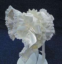 New Handmade Ivory  Baby Bonnet