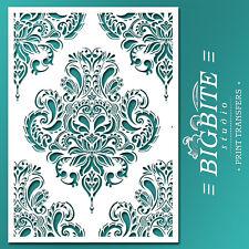 Shabby Chic STENCIL: Damask Doodle Wallpaper Pattern (DIY Furniture Print) #044