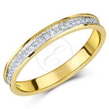 18 carats bague or jaune demi- Eternity Bague diamant 0.15ct CT 3mm Band