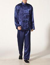 Nuevo Chino Oriental Para Hombre Marciales Kung Fu Blue Dragon Pijamas Pijama Conjunto menpjs9