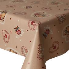 PVC Tovaglia Beige GUFI CUORI vintage foglie punti Latte Macchiato di Rosso Pulibile Con Panno Cover