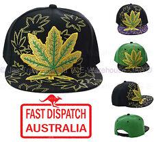Snapback Flat Peak Bill Baseball Cap Hat Mull Weeds Marijuana Cannabis Leaf