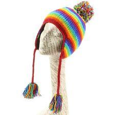 Lana Earflap Sombrero Tejido loudelephant Forro Polar Invierno Bobble Beanie Ski Stripe