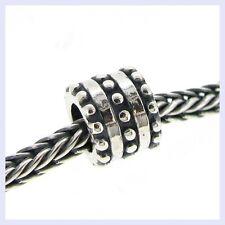 Sterling Silver Round Dot Tube Spacer Stripes Bead for European Charm Bracelet