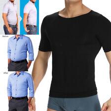 Men's Slimming Body Shaper Compression T-shirt Hide Moobs Posture Corrector Vest