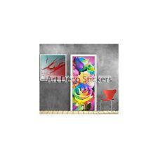 Stickers pour porte trompe l'oeil déco Fleurs couleurs réf 782