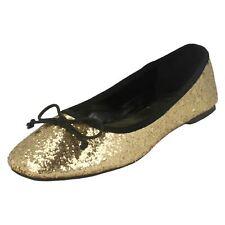 Ladies spot on gold glitter ballerinas  shoes F8894