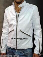 New Leather Jacket Customised Soft Lambskin Motorcycle biker Cafe Racer Vest WLZ