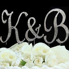 Rhinestone Crystal Monogram Diamante Wedding Cake Topper Letter 12cm & 7cm And