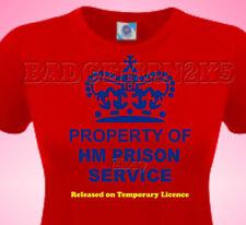 Property Of HM PRISON SERVICE - JOKE - Ladies Cotton T-Shirt