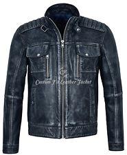 Ven Desel Men's Vintage Navy Blue Racing Denim Look Biker Real Leather Jacket