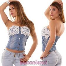 Top donna jeans PIZZO maglia fascia bandeau corsetto bustino nuovo JN10236