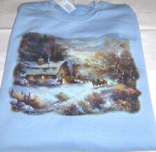 """A Snowy Evening Outing"" - Gildan (Blue) Fleece Long sleeve Crew Neck Sweatshirt"