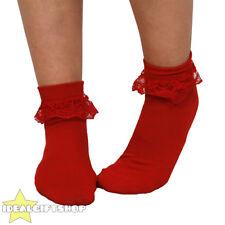 WOMENS RED 50'S FRILL SOCKS 1950'S BOBBY SOCKS ADULTS FANCY DRESS ACCESSORY