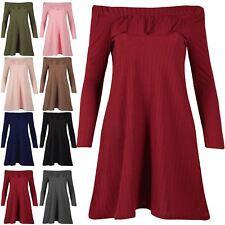 Womens Ladies Frill Off The Shoulder Bardot Ribbed Flared Smock Swing Mini Dress
