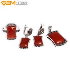 Womens Rivet Rectangle Tibetan Silver Ring Earrings Pendant Fashion Jewelry Sets