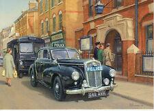 Wolseley 6/80 Police car Austin LD1 LD2 Police van  motoring art  card Pinnock