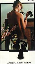 PUBLICITE ADVERTISING 1982    LANVIN  ARPEGE  et rien d'autre parfum