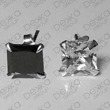 925 Sterling Silver Cubic Zirconia CZ Square Stud Earrings Choose Size Men Women