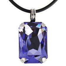 Grevenkämper Halskette Swarovski Kristall Silber Rechteck 26 mm lila Tanzanite