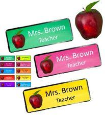 Personalised Teacher Apple Name badge 10 colours Pin or magnet back custom print