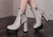 stivali stivaletti  scarpe donna tacco 11 grigio simil pelle calde comode 8284