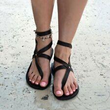 Women BOHO Ankle Strap Flat Sandals Slingback Thong Flip Flops Summer Beach Shoe