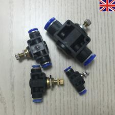 UK Pneumatic Throttle Valve Flow Control Push fit quick connection 4 6 10 12 mm