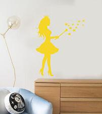 Vinyl Wall Decal Princess Magic Wand Stars Magic Fairy Tale Stickers (2480ig)